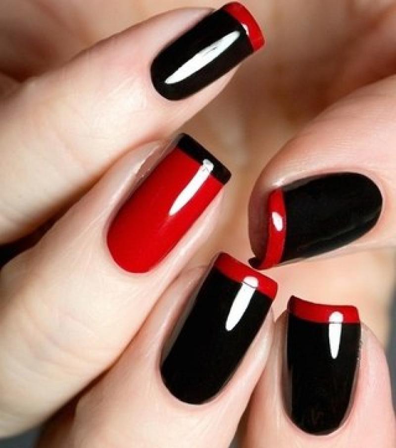 Черно красный дизайн гель лаком