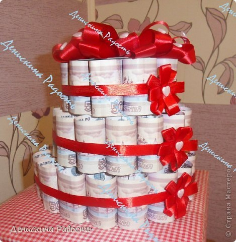 Подарок из денег своими руками на свадьбу фото